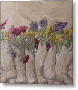 Boots And Flowers Metal Print