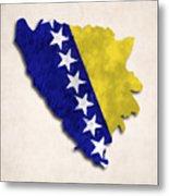 Bosnia And Herzegovina Map Art With Flag Design Metal Print