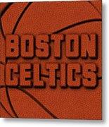 Boston Celtics Leather Art Metal Print