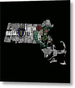 Boston Celtics Typographic Map Metal Print
