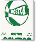 Boston Celtics Vintage Basketball Art Metal Print