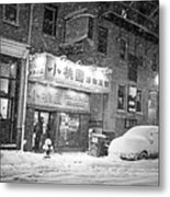 Boston Chinatown Snowstorm Tyler St Black And White Metal Print