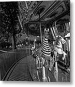 Boston Common Carousel Boston Ma Black And White Metal Print