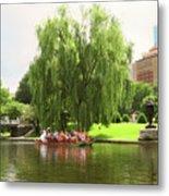 Boston Garden Swan Boat Metal Print