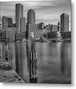 Boston Habor Sunrise Bw Metal Print