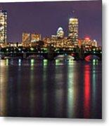 Boston Harbor Nights-panorama Metal Print by Joann Vitali