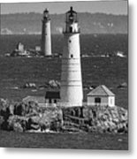 Boston Light With Graves Light Metal Print