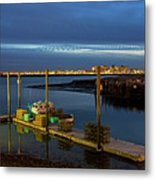 Boston Ma Belle Isle Boat Pier And Skyline Logan Airport Metal Print