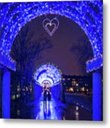 Boston Ma Christopher Columbus Park Trellis Lit Up For Valentine's Day Rainy Night Metal Print