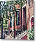 Boston Ma - Walking The Dog On Mount Vernon Street Metal Print