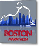 Boston Marathon 3a Running Runner Metal Print