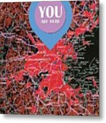 Boston Massachusetts 1948 Red Old Map You Are Here Metal Print