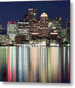 Boston Night Skyline Panorama Metal Print