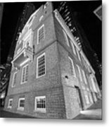 Boston Old State House Boston Ma Angle Black And White Metal Print