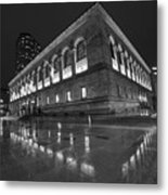 Boston Public Library Rainy Night Boston Ma Black And White Metal Print