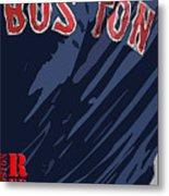 Boston Red Sox Typography Blue Metal Print