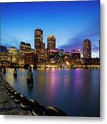 Boston Skyline At Dusk Metal Print