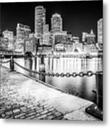 Boston Skyline At Night Black And White Picture Metal Print