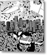 Boston Skyline Black And White Metal Print