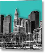 Boston Skyline - Graphic Art - Cyan Metal Print