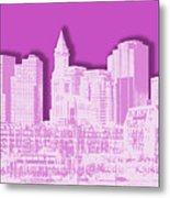 Boston Skyline - Graphic Art - Pink Metal Print