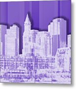 Boston Skyline - Graphic Art - Purple Metal Print