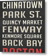 Boston Subway Stops Poster Metal Print