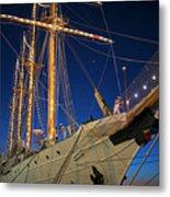 Boston Tall Ship Flags Boston Ma Sailors Blue Sky Metal Print