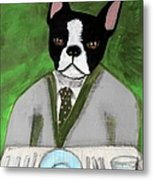 Boston Terrier At A Formal Dinner Metal Print