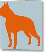 Boston Terrier Orange Metal Print