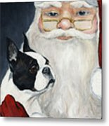 Boston Terrier With Santa Metal Print
