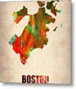 Boston Watercolor Map  Metal Print