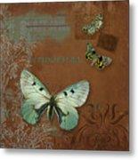 Botanica Vintage Butterflies N Moths Collage 4 Metal Print