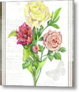 Botanical Vintage Style Watercolor Floral 3 - Peony Tulip And Rose With Butterfly Metal Print