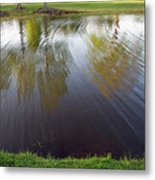 Grass On Both Sides With Water Between Metal Print