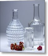 Bottles And Red Flowers  Metal Print