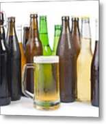 Bottles Of Beer And Beer Mug.  Metal Print