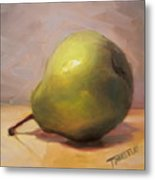 Bottoms Up Green Pear Print Metal Print