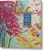 Bouganvilla And Blue Shutter Metal Print