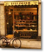 Boulangerie And Bike Metal Print by Mick Burkey