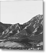 Boulder Colorado Flatirons And Cu Campus Panorama Bw Metal Print