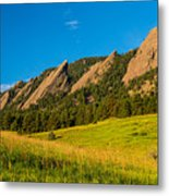 Boulder Colorado Flatirons Sunrise Golden Light Metal Print