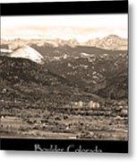 Boulder Colorado Sepia Panorama Poster Print Metal Print