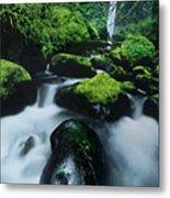 Boulder Elowah Falls Columbia River Gorge Nsa Oregon Metal Print