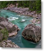 Boulder In The River - Slovenia Metal Print