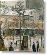 Boulevard De Rocheouart In Snow Metal Print