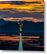Bountiful Sunset - Moroni Statue - Utah Metal Print