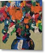 Bouquet-a-day #8 Original Mixed Media Painting On Canvas 70.00 Incl Shipping By Elaine Elliott Metal Print