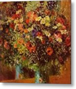 Bouquet In Front Of A Mirror 1877 Metal Print