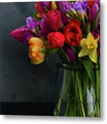 Spring Flowers In Vase Metal Print